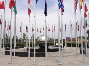 Global Citizens Plaza, where each flag represents a student's country, or a country where a Chapman student can go to study abroad.